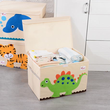 Складной ящик для игрушек с крышкой. Стегозавр.