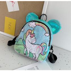 Рюкзак детский, с паетками, розовый. Единорог с радугой.