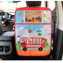 Защитный чехол на спинку сидения авто, с силиконовым покрытием. Автобус с зверушками.