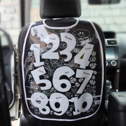 Защитный чехол на спинку сидения авто, белый. Цифры.