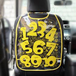 Защитный чехол на спинку сидения авто, желтый. Цифры.