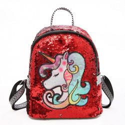 Рюкзак детский, с паетками, красный, светиться. Единорог.