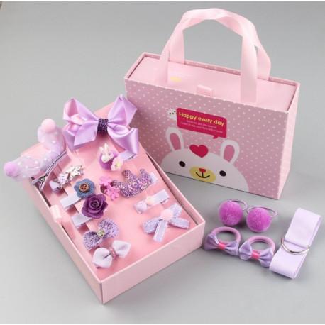 Набор детских заколок. Лиловый 18 штук в подарочной коробочке.