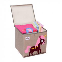 Складной ящик для игрушек с крышкой. Лошадка.