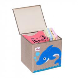 Складной ящик для игрушек с крышкой. Дельфин.