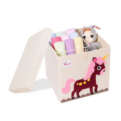 Складной ящик для игрушек со съемной крышкой. Единорог.