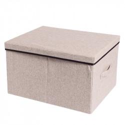 Складной ящик со съемной крышкой. Бежевый. L