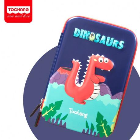 Пенал твердый одинарный, синий. Динозавр.