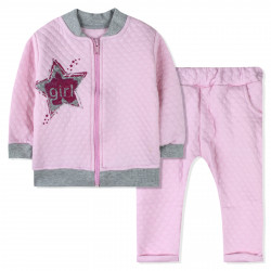 Костюм для девочки, розовый на молнии. Звезда.