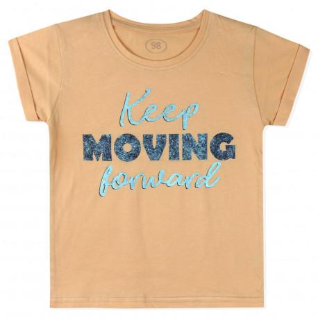 Футболка для мальчика, оранжевая. Продолжай двигаться вперед.
