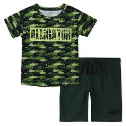 Костюм для мальчика, зеленый. Крокодильчики.