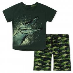 Костюм для мальчика, зеленый. Крокодил.