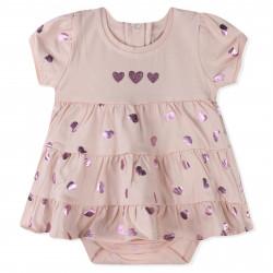 Боди-платье для девочки, розовое. Сердечки.