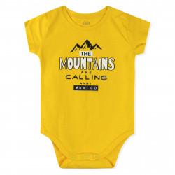 Боди для мальчика, желтый. Горы.