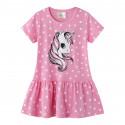 Платье для девочки, розовое. Единорог.