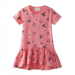 Платье для девочки, розовое. Ласточка и узоры.