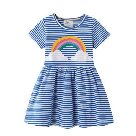 Платье для девочки, синее. Яркая радуга.