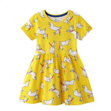 Платье для девочки, желтое. Кролик с морковкой.
