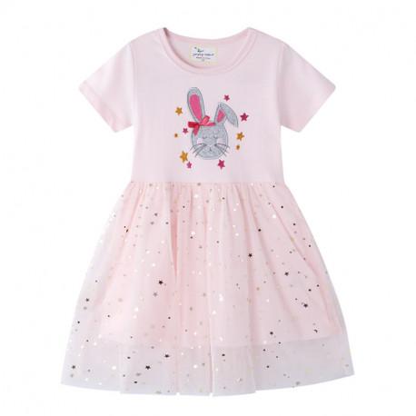 Платье для девочки, розовое. Сладкий зайка.