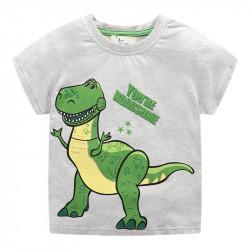 Футболка для мальчика, серая. Динозавр Рекс.
