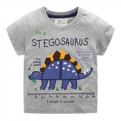 Футболка для мальчика, серая. Большой стегозавр.