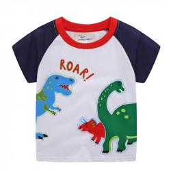 Футболка для мальчика, белая. Динозаврий рёв.
