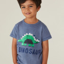 Футболка для мальчика, синяя. Яркий динозавр.
