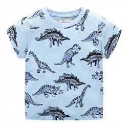 Футболка для мальчика, голубая. Большие динозавры.