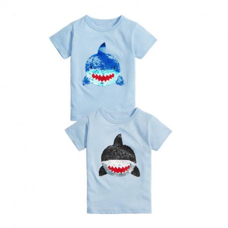 Футболка детская, голубая. Большая акула.