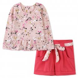 Костюм для девочки, персиковый с розовым. Точечки.