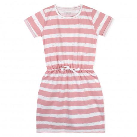 Платье для девочки, розовое. Полосочка.