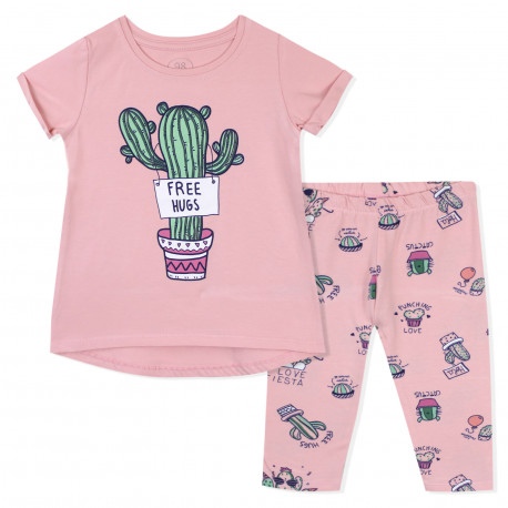 Костюм для девочки, розовый. Большой кактус.