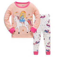 Пижама для девочки, персиковая. Девочка на единороге.