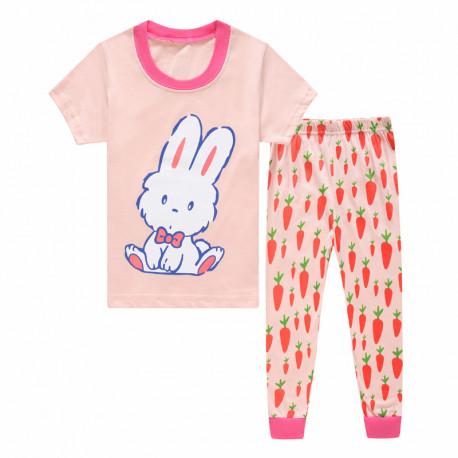 Пижама для девочки, персиковая. Зайчик и морковка.