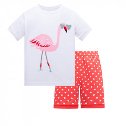 Пижама для девочки, коралловая. Розовый фламинго.