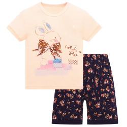 Пижама для девочки, персиковая. Зайчик с бантом.