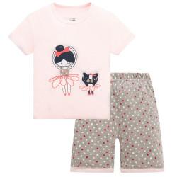 Пижама для девочки, розовая. Балерина и собачка.