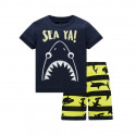 Пижама для мальчика, черная. Огромная акула.