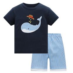 Пижама для мальчика, синяя. Большой кит.