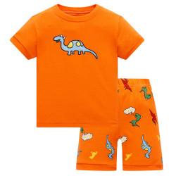 Пижама для мальчика, оранжевая. Веселый динозаврик.