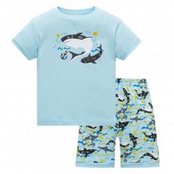 Пижама для мальчика, голубая. Акулята.
