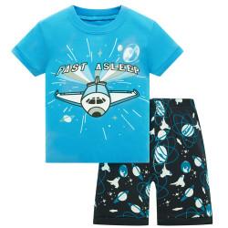Пижама для мальчика, синяя. Самолет.