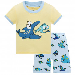 Пижама для мальчика, желтая. Рыбки.