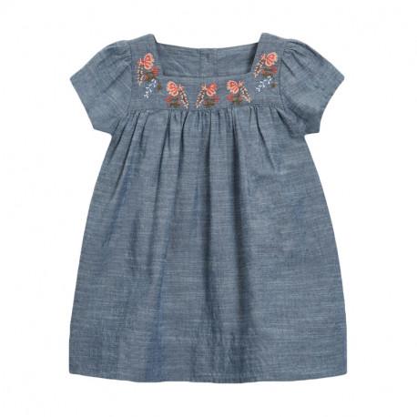 Платье для девочки, синее. Цветы.