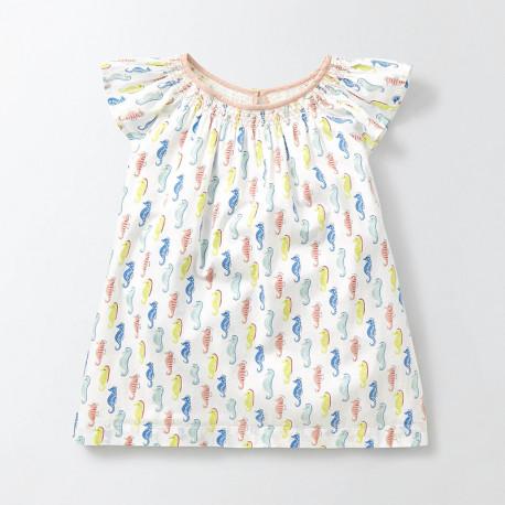 Блуза для девочки, белая. Морские коньки.