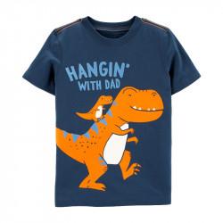 Футболка для мальчика, синяя. Семья динозавров.