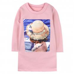 Платье для девочки, розовое. Шляпка.