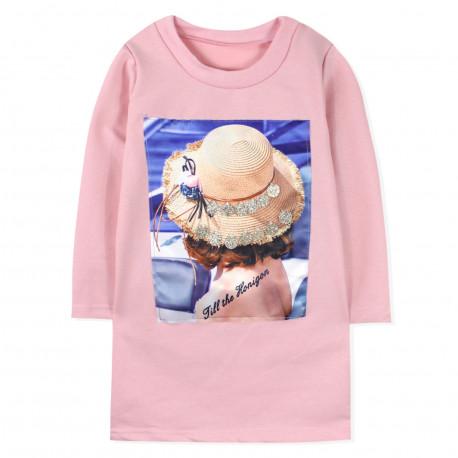 Платье для девочки, розовый. Шляпка.