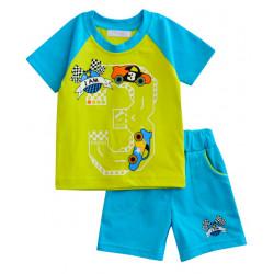 Комплект для мальчика, футболка и шорты, бирюза. Гонки.
