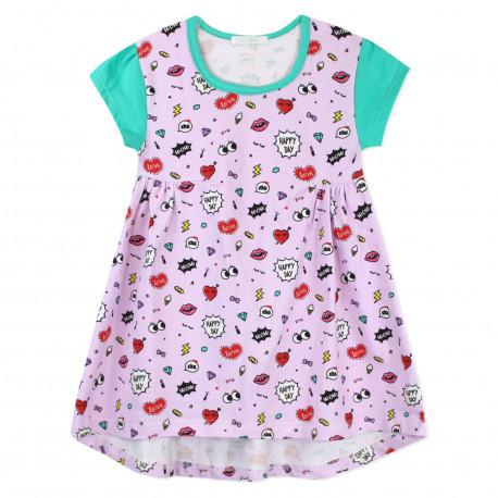 Платье для девочки, розовое. Комиксы.